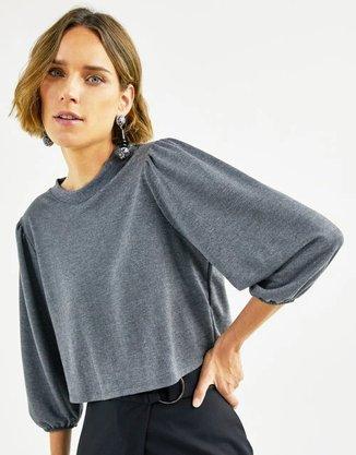 Blusa Shoulder Franzido Grafite