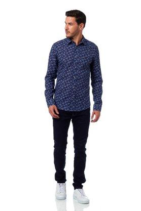 Camisa Colcci Floral Azul Marinho