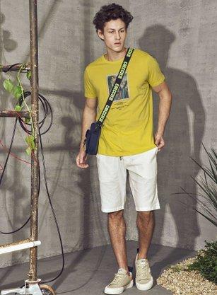Camiseta Colcci Estampada Amarelo