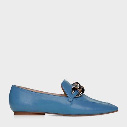 Sapato Carrano Azul com Corrente Dourada