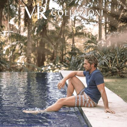 Shorts da Marca VR Estampado Azul e Laranja