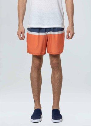 Shorts Osklen Listra Azul Branco e Laranja