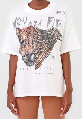T-shirt Colcci Branca Estampa Onça
