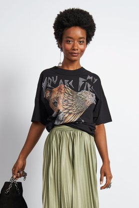 T-shirt Colcci Preta Estampa Onça