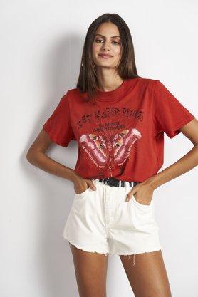 T-shirt Colcci Vermelha Estampa Borboleta