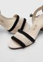 Sandália Amarração Tricot Preto e Branco